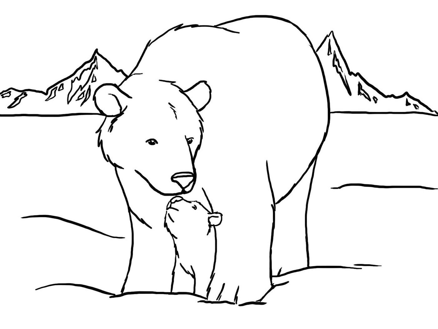 Drawn polar  bear coloring page Free Polar Two Inside Polar