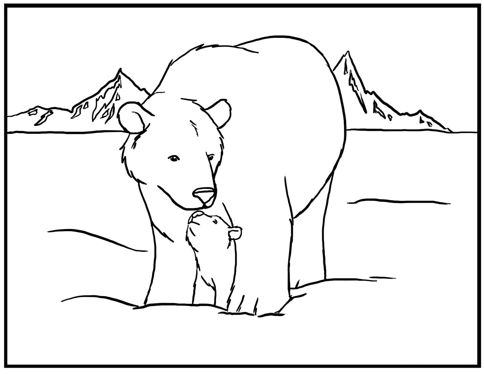 Drawn polar  bear coloring page Bear Coloring Colouring 11 With