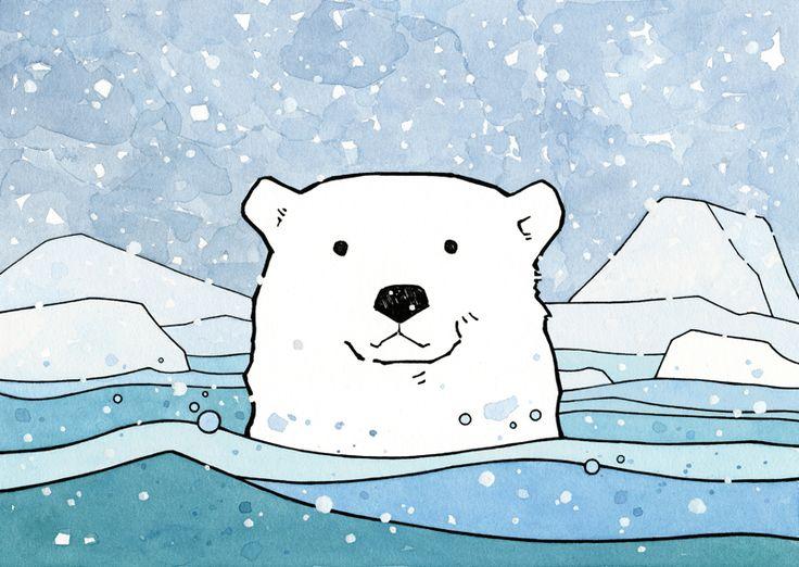 Drawn polar  bear cute winter #5