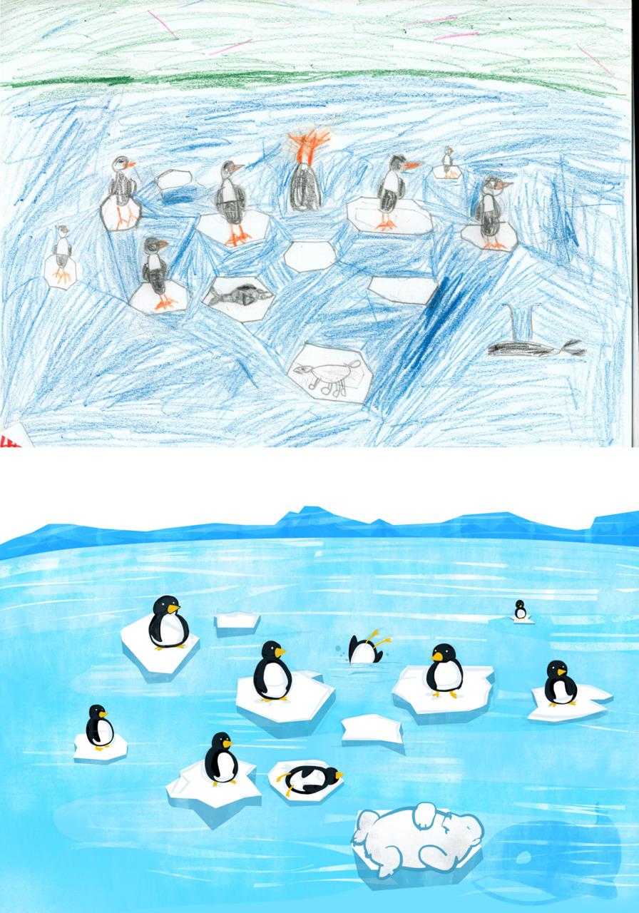 Drawn polar  bear eats Sperm the to 7 whale