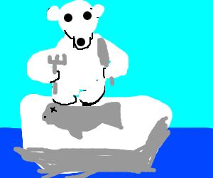 Drawn polar  bear eats Eating MONKEY MEGA seals Polar