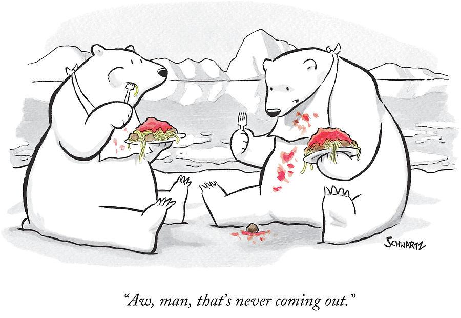 Drawn polar  bear eats Meatballs Schwartz Benjamin And One