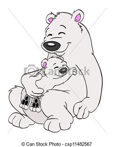 Drawn polar  bear family drawing Stock Polar Family csp11482567 Illustration