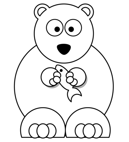 Drawn polar  bear fish cartoon See Click printable with coloring