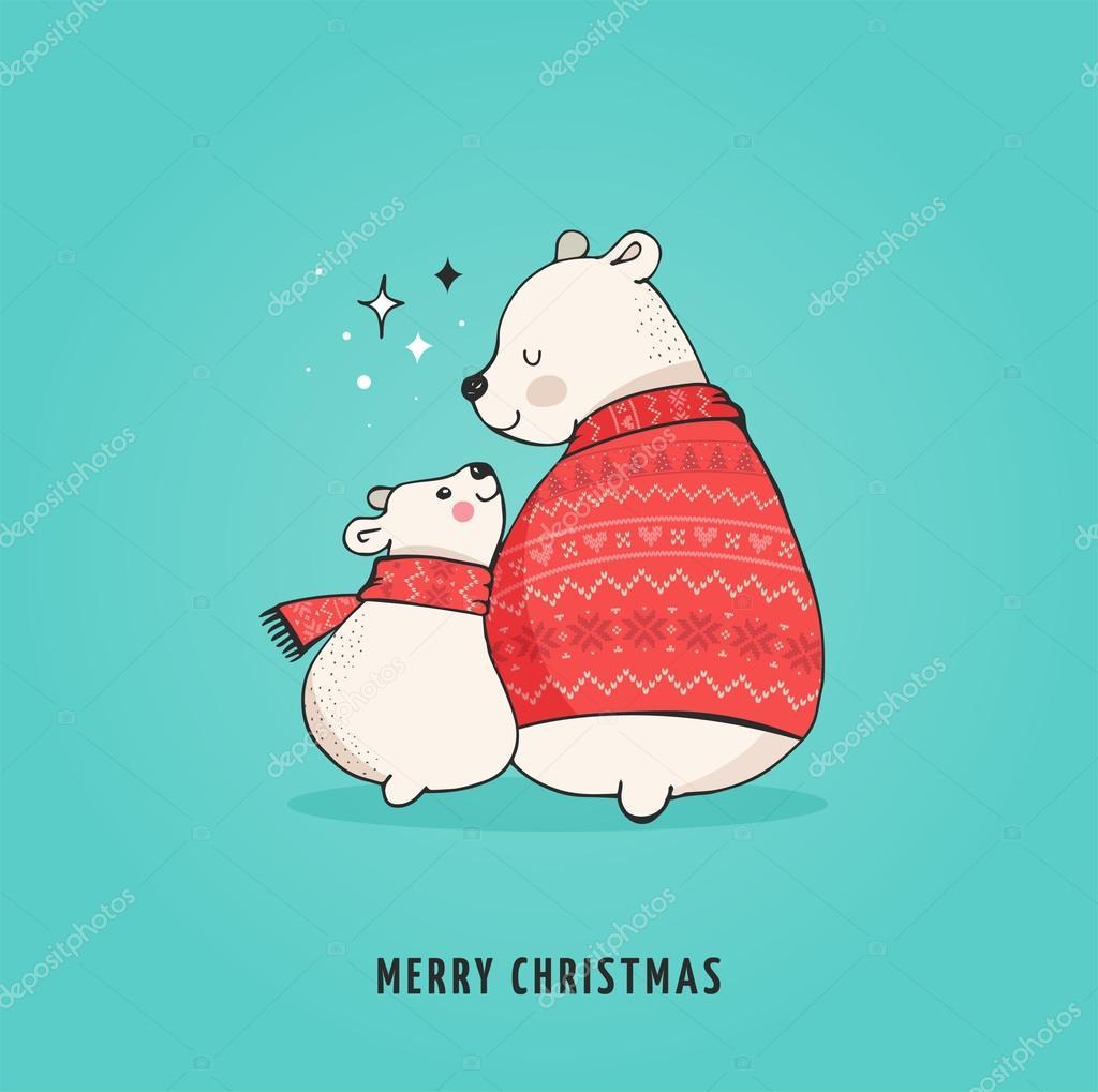 Drawn polar  bear hand drawn Baby of and bears cute