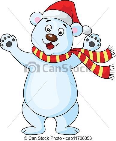 Drawn polar  bear happy bear Happy Clipart carton Vector Happy