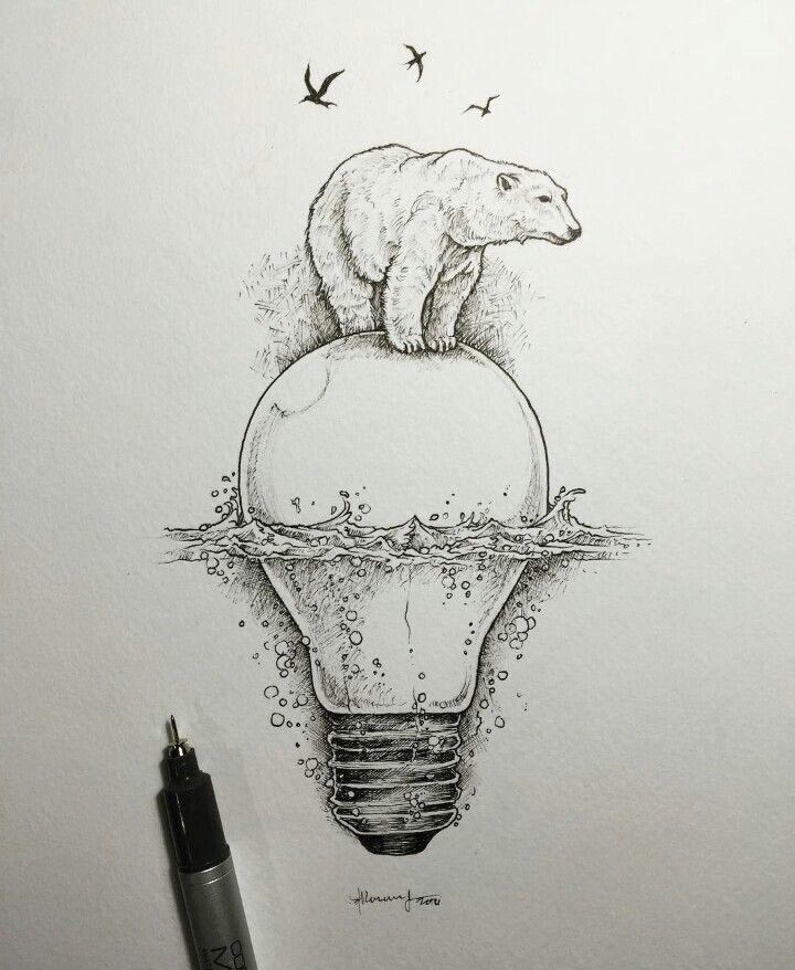 Drawn polar  bear head Best bear Polar bear The