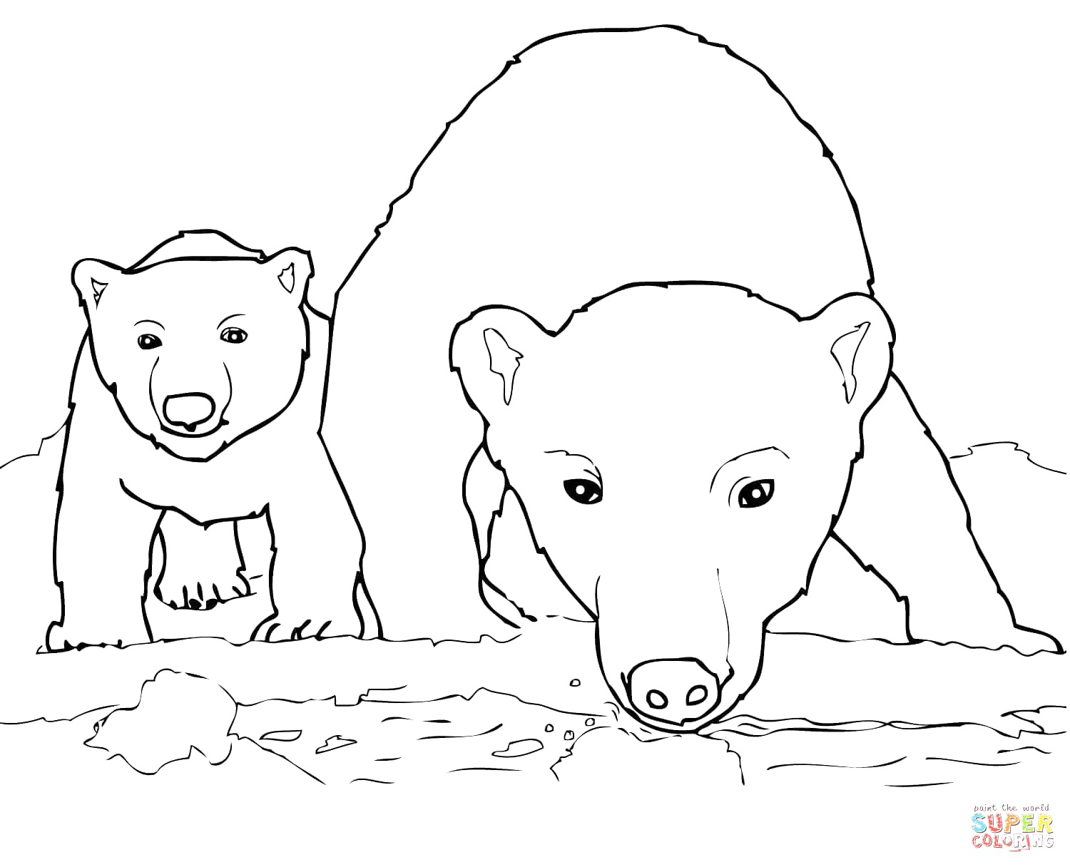 Drawn polar  bear mother bear Pagejpg 2 Cub Bear Coloring