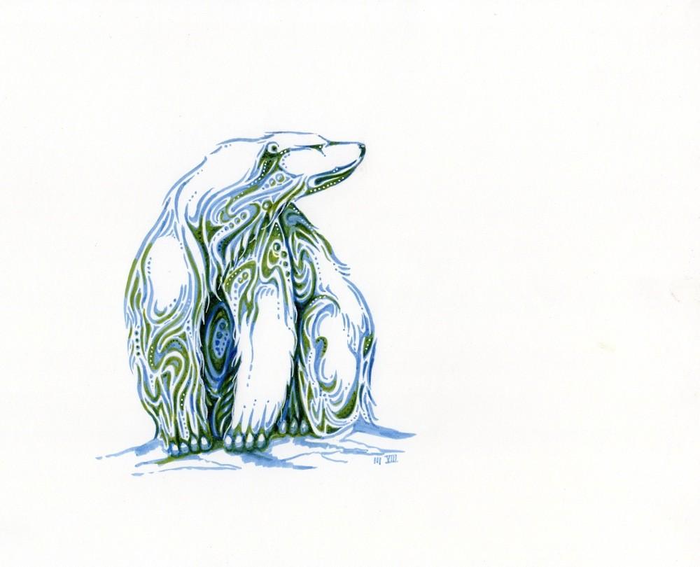Drawn polar  bear native By Polar 00  sits