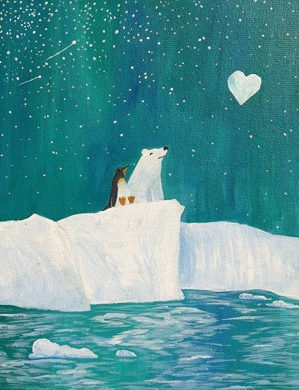 Drawn polar  bear penguin #10