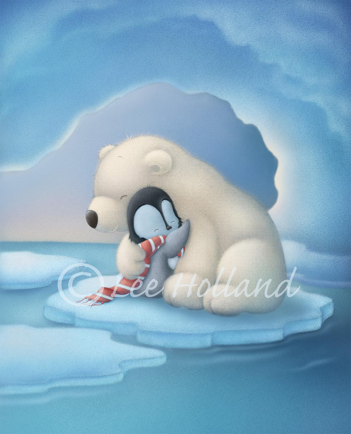 Drawn polar  bear penguin #8