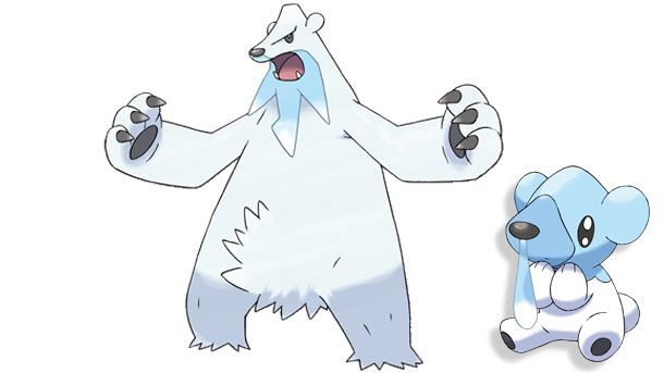 Drawn polar  bear pokemon Unova cute with it beard