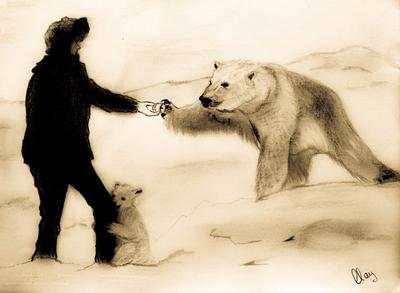 Drawn polar  bear real baby #9