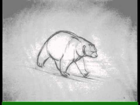 Drawn polar  bear running bear #15