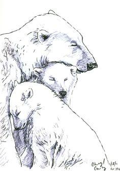 Drawn polar  bear sad #11