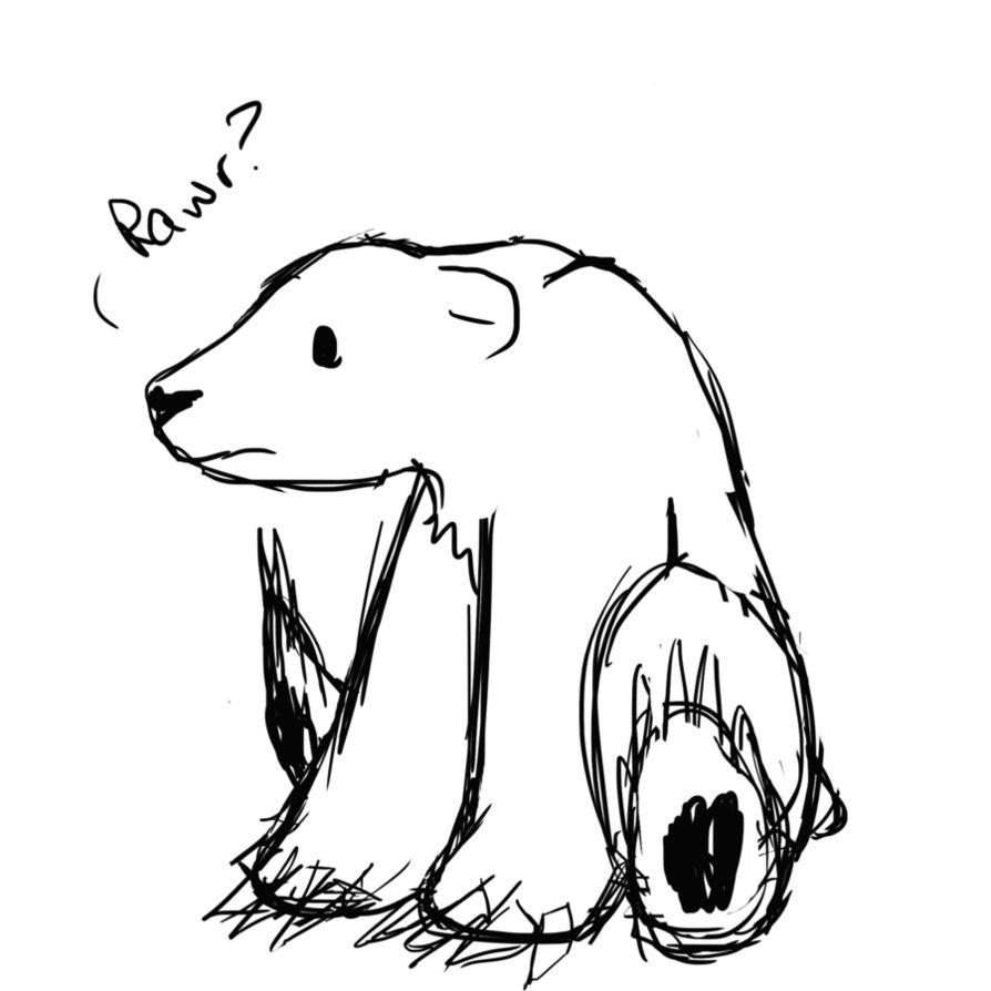 Drawn polar  bear sad #6