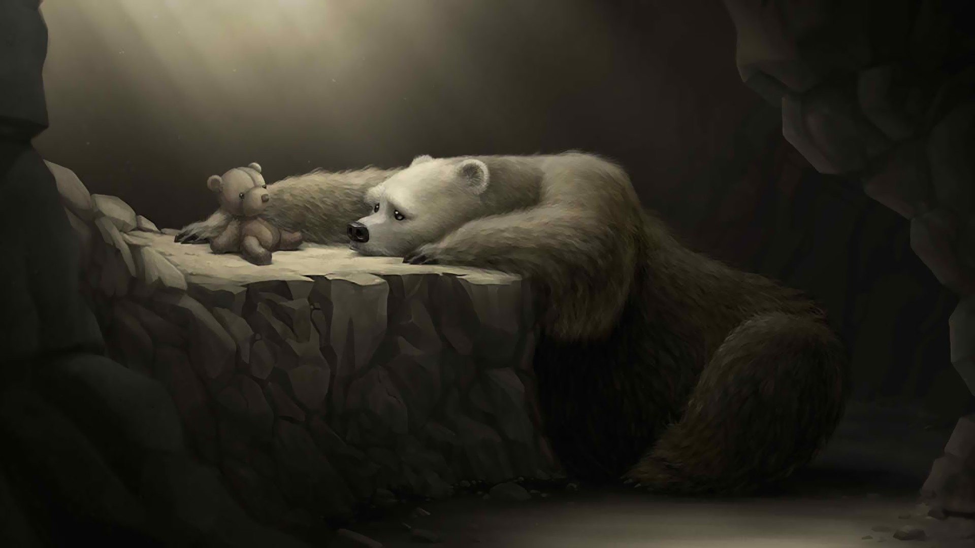 Drawn polar  bear sad #5