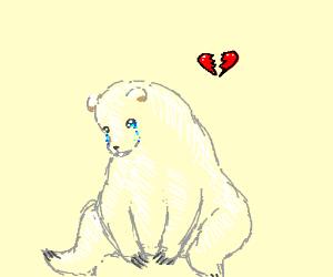 Drawn polar  bear sad #2