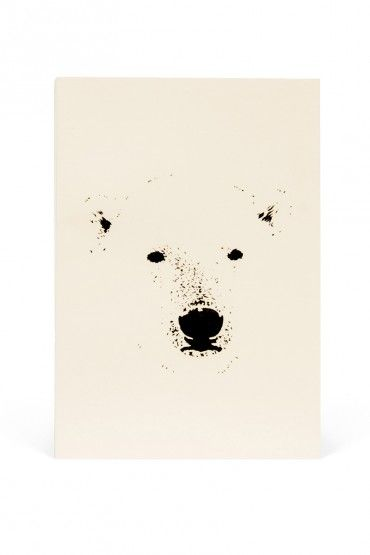 Drawn polar  bear small On / Notebook recycled soy