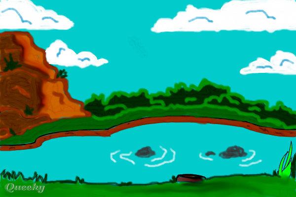 Drawn pond Scene how to A pond