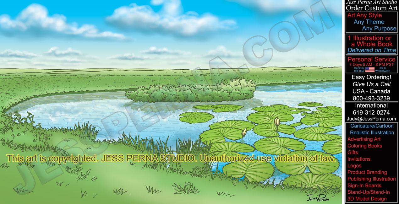 Drawn pond Caricatures Pond Illustration Cruise Digital