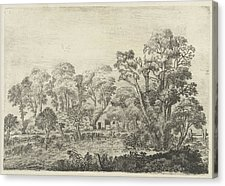 Drawn pond farm landscape Print Van by Pond Brosterhuyzen