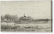 Drawn pond farm landscape Willem Drawing Roelofs Willem Print