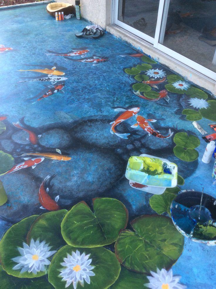 Drawn pond fish pond Koi l'oeil Art Louise 265