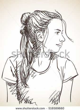 Drawn ponytail face Hair Sketch with Hand tied