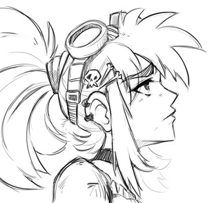 Drawn ponytail face #wip #steam #hair #anime peppertode's