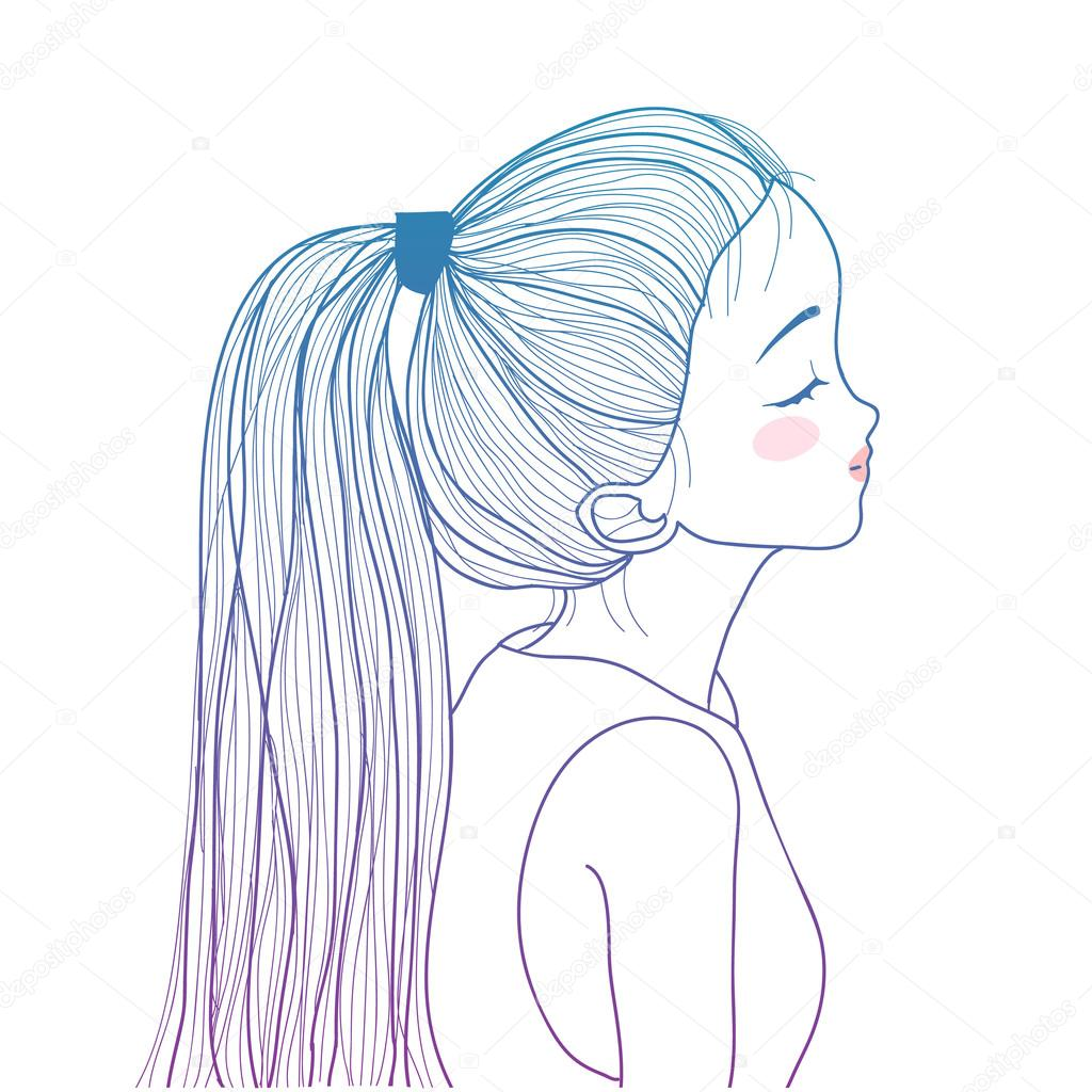 Drawn ponytail face Stock drawn — by Vector