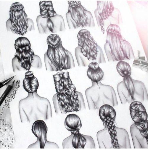 Drawn ponytail fashion  black headband hair drawing