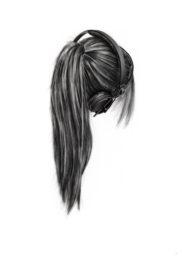 Drawn ponytail fashion  easy drawing Charcoal but