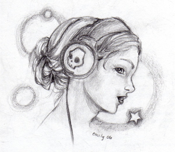 Drawn ponytail headphone Search Google (drawing) headphones wearing