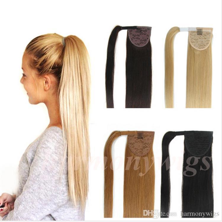 Drawn ponytail human hair 100% Top Drawn Top 22inch