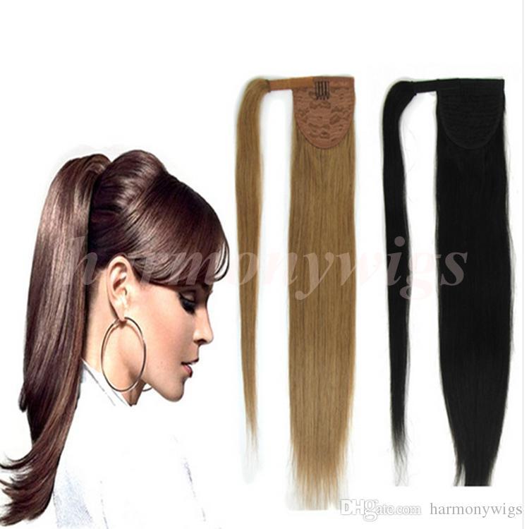 Drawn ponytail human hair Ponytail Human Brown Top