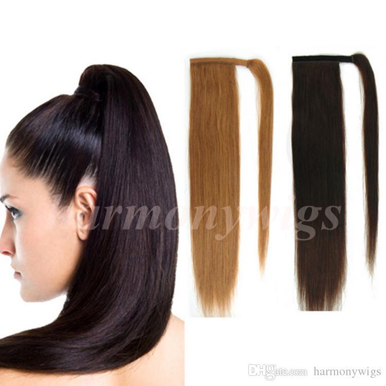 Drawn ponytail human hair Ponytail Human Brown Top Brown