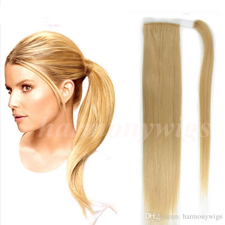 Drawn ponytail human hair Hair 100% 613/Bleach Top #