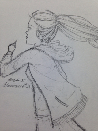 Drawn ponytail pretty person Lead #running #running #pencil #lead