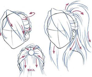 Drawn ponytail sketch Drawing perspectives ponytail drawing ponytail
