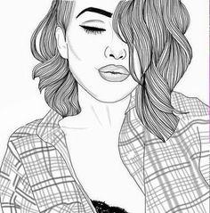 Drawn ponytail tumblr music Outline girl tumblrish Pinterest white