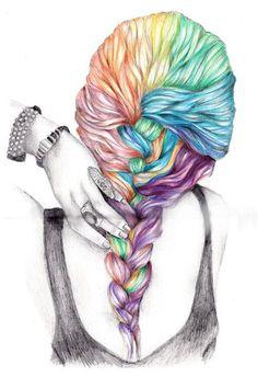 Drawn ponytail tumblr music Iphone Art Hair hair cute