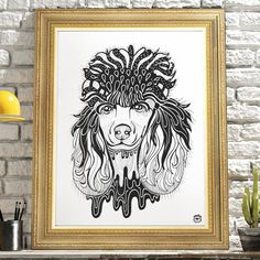 Drawn poodle abstract Illustration print A4 dog poodle