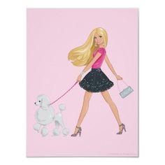 Drawn poodle barbie Walking poster  Room Barbie