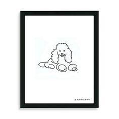 Drawn poodle bow Line poodle Pink drawing Framed