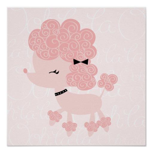 Drawn poodle bow  art Poodle Pink Art