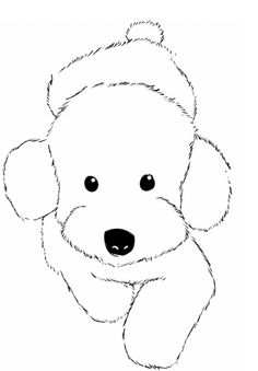 Drawn poodle natural Cute sketch to a dog