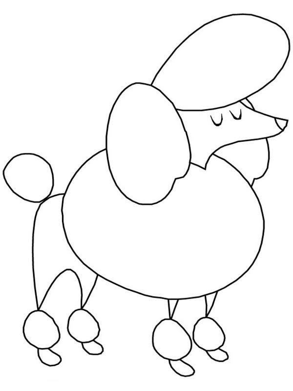 Drawn poodle simple Coloring Poodle Drawn Cartoon Printable