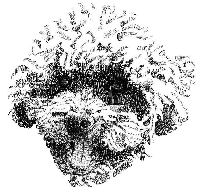 Drawn poodle water Calligram Dog Breed Drawn Charlie
