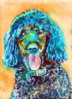 Drawn poodle water Marine Painting on Poodle poodle